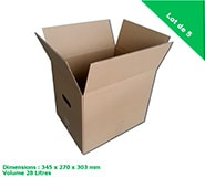 lot de 5 petits cartons de demenagement 28 litres - double cannelure...