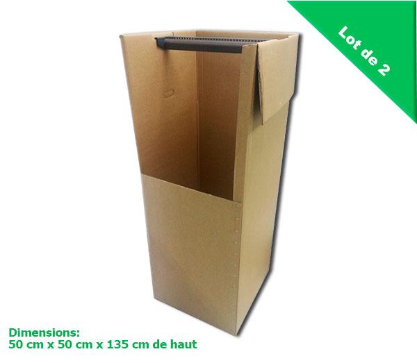 Deux cartons penderie avec tringles porte cintres prix for Penderie hauteur 150 cm