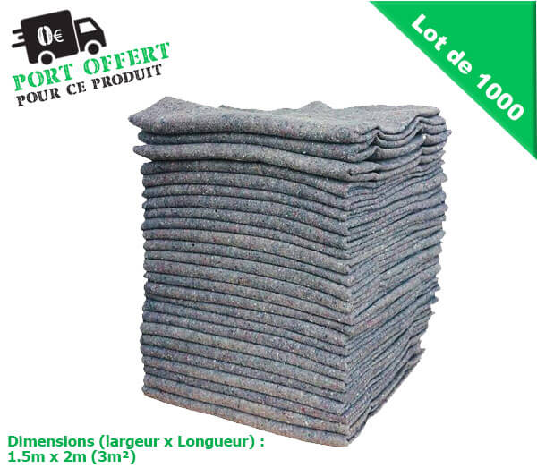 couvertures demenagement pro - 4 cotes ourles ( lot de 1000)