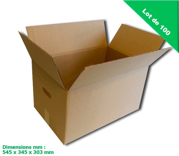lot de 100 cartons de demenagement 56 litres - double cannelure -...
